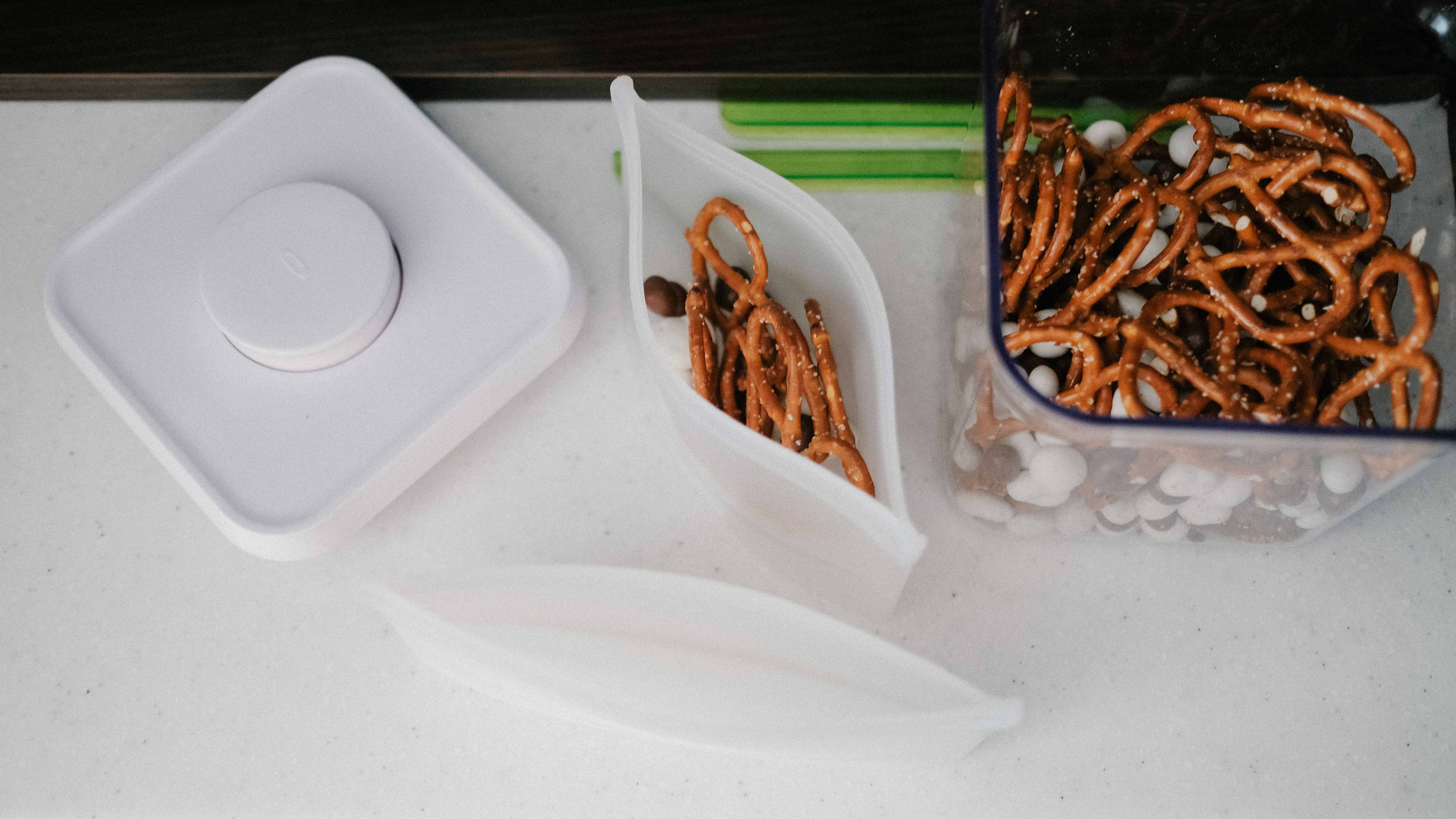 reusable silicone bag with pretzels for school snacks