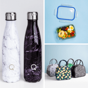 collage of ksp quench water bottles, ksp clip it glass container, and ksp duffle insulated lunch bags