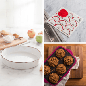 collage of ksp tuscana fluted pie dish, swedish treasures wet-it apple slices reusable cleaning cloth, and trudeau structure silicone muffin pan