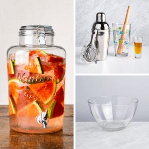 ksp nantucket glass beverage dispenser, libbey mix-it up cocktail shaker combo, borgonovo palladio glass salad bowl