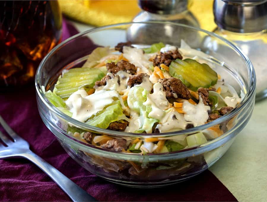 low-carb big mac salad in a bowl