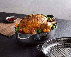 prepared turkey in a roasting pan