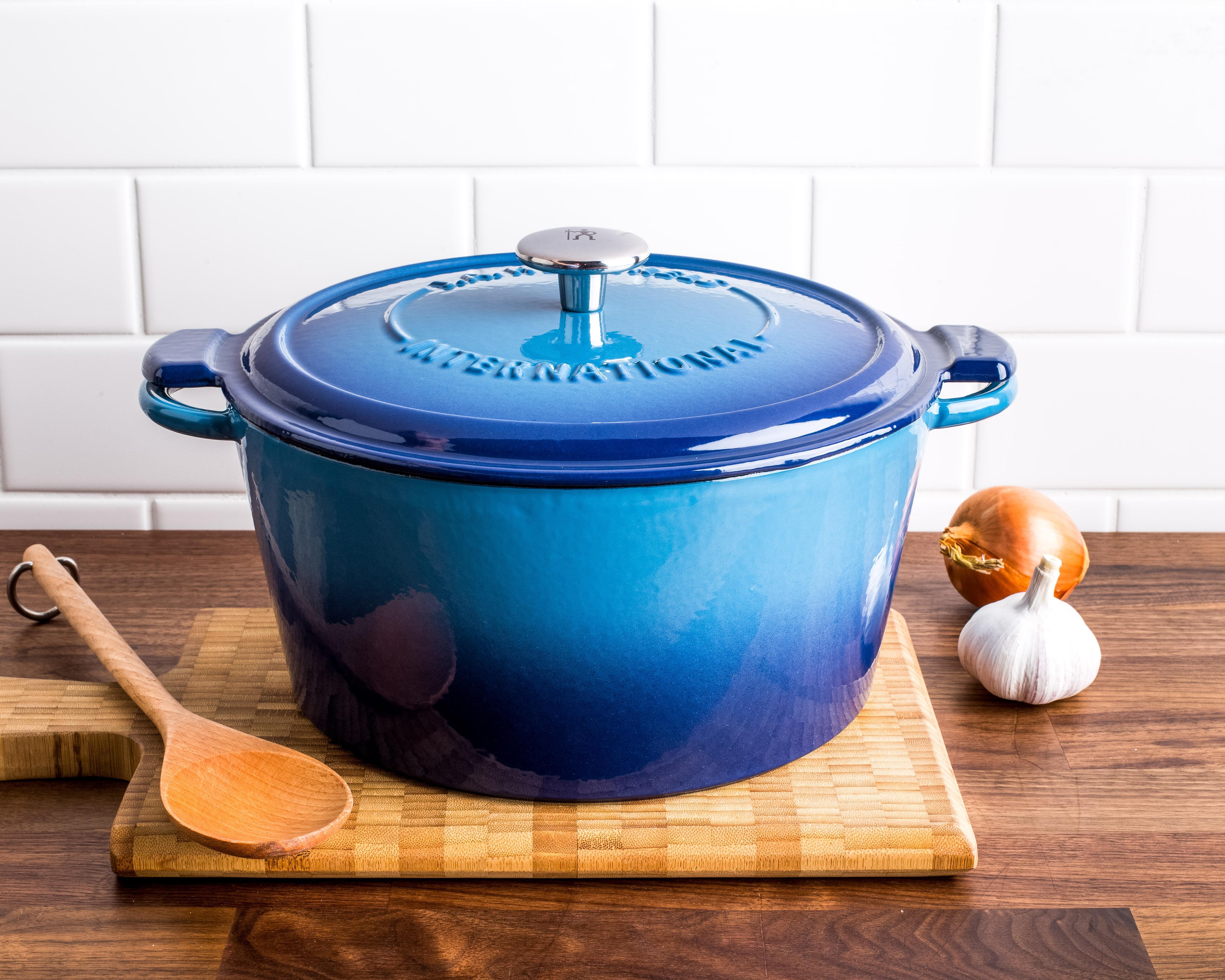 blue cast iron dutch oven