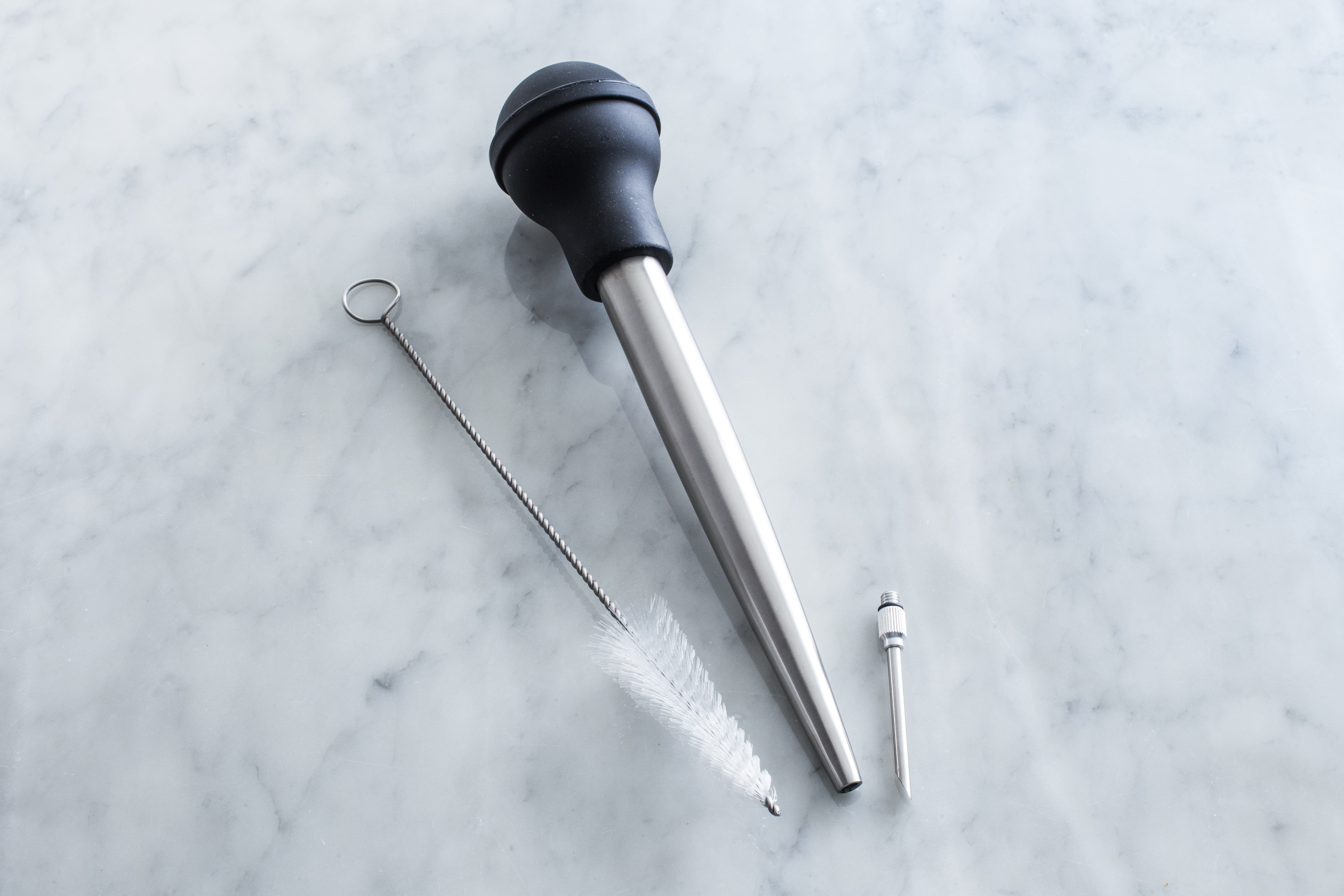 stainless steel turkey baster brush