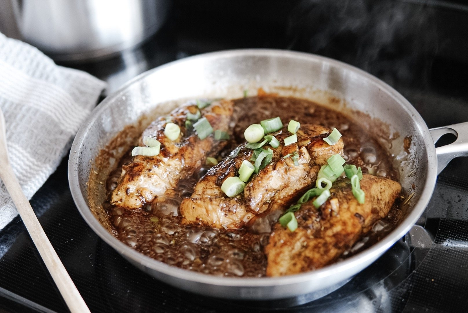 glazed balsamic chicken done in the joy cookware frypan
