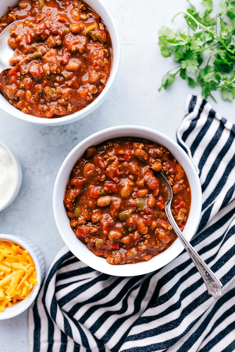two bowls full of chili