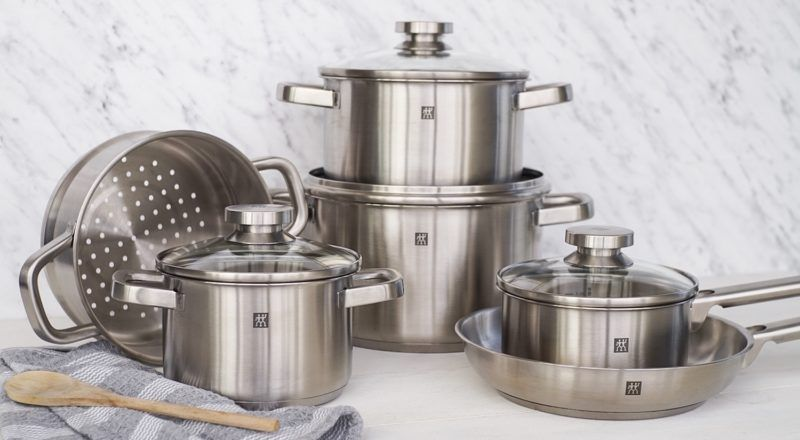 10 piece set of stainless steel zwilling cookware