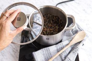 wild rice in a sauce pot