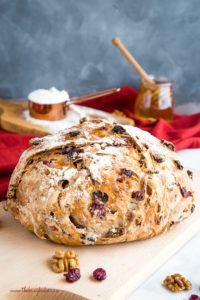 loaf of cranberry honey walnut bread