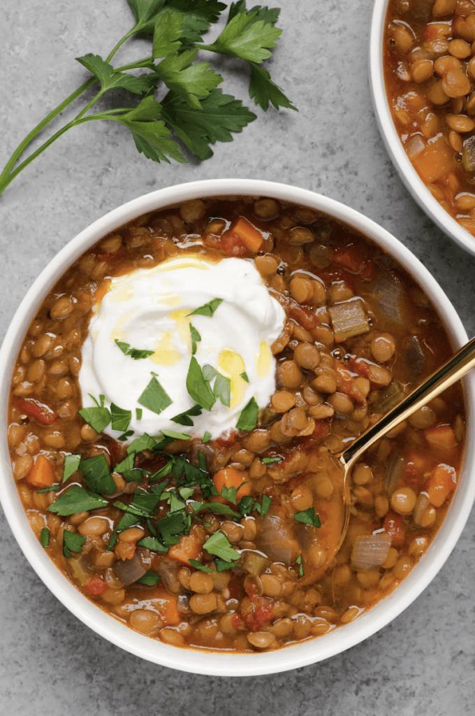 spicy lentil with seasonal veggies