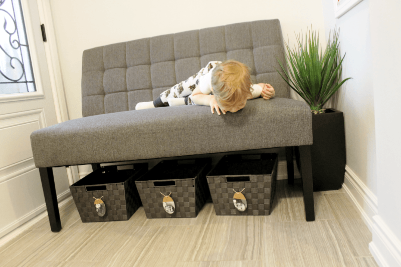 organize your entryway with benches and bins