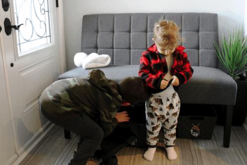 Putting-on-jacket