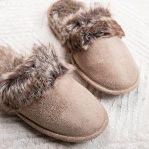 Faux suede memory foam slippers