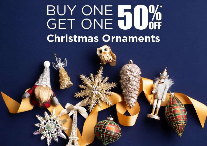 Ornaments, assorted styles, starting at $2.99