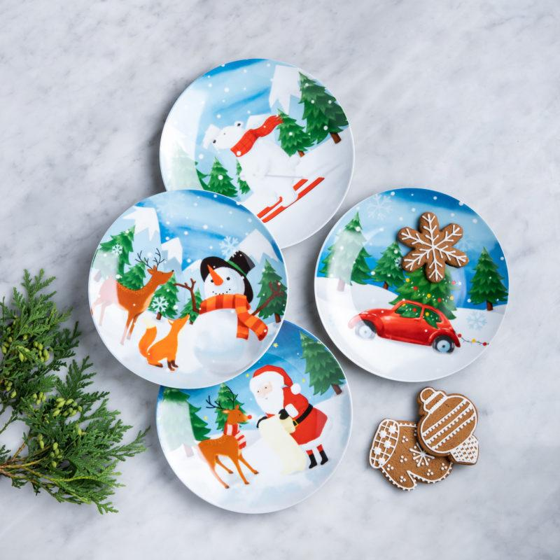 KSP Christmas Decal 'Woodland Santa' Porcelain Side Plate - Set of 4 (Blue)