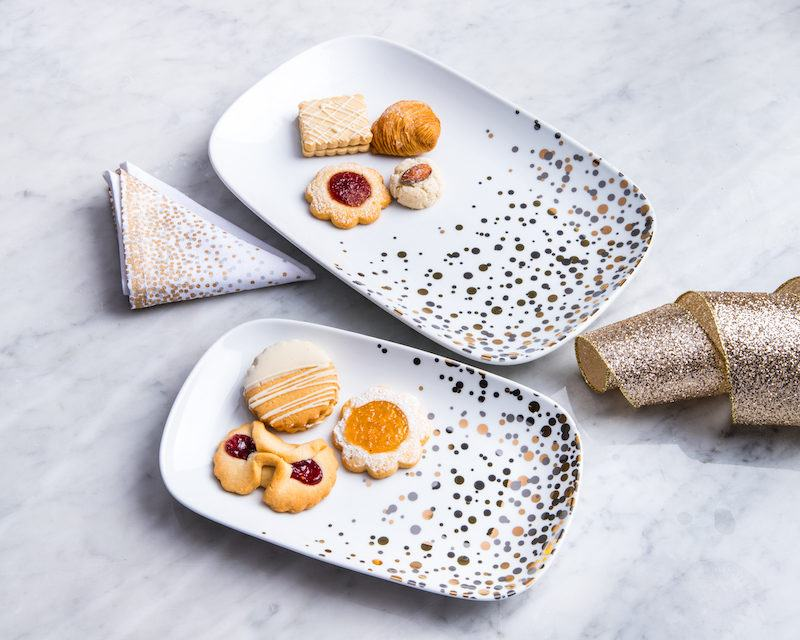 metallic dots holiday serveware gifts under $20