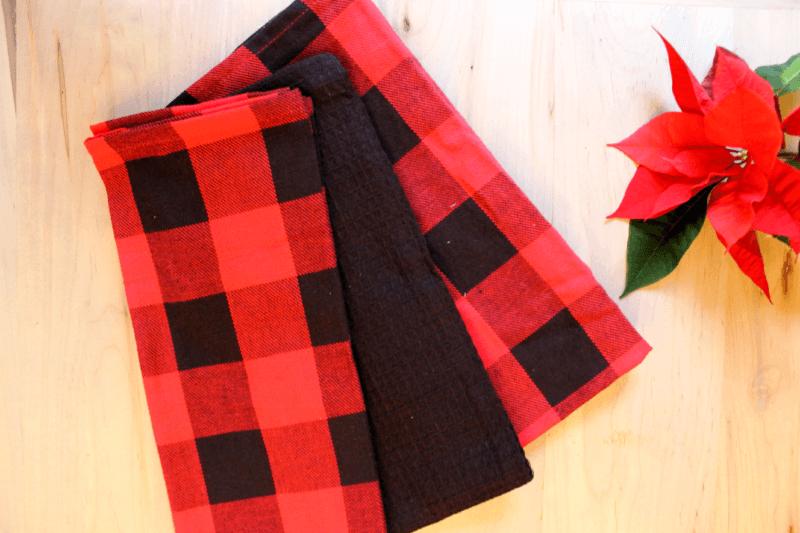Harman Christmas Cotton Kitchen Towel 'Buffalo Check' - Set of 3