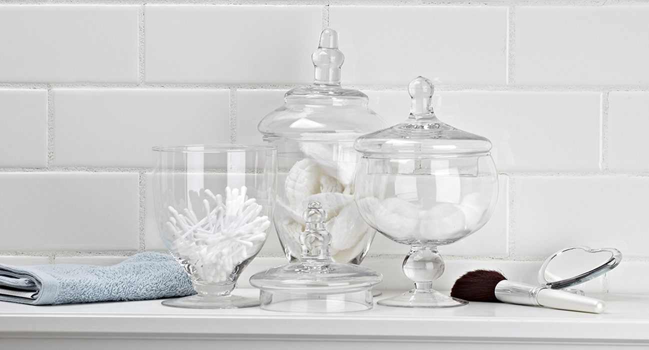 bathroom glass jars