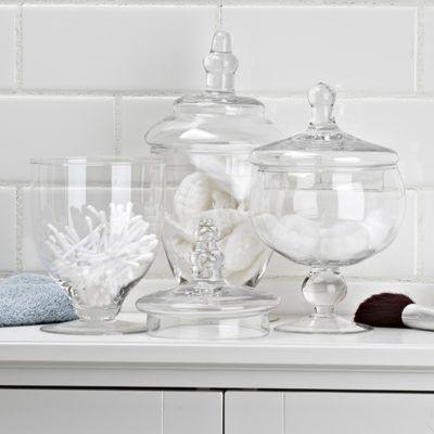 bathroom glass jars