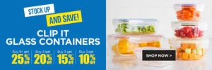 Stock up and save: clip it glass containers