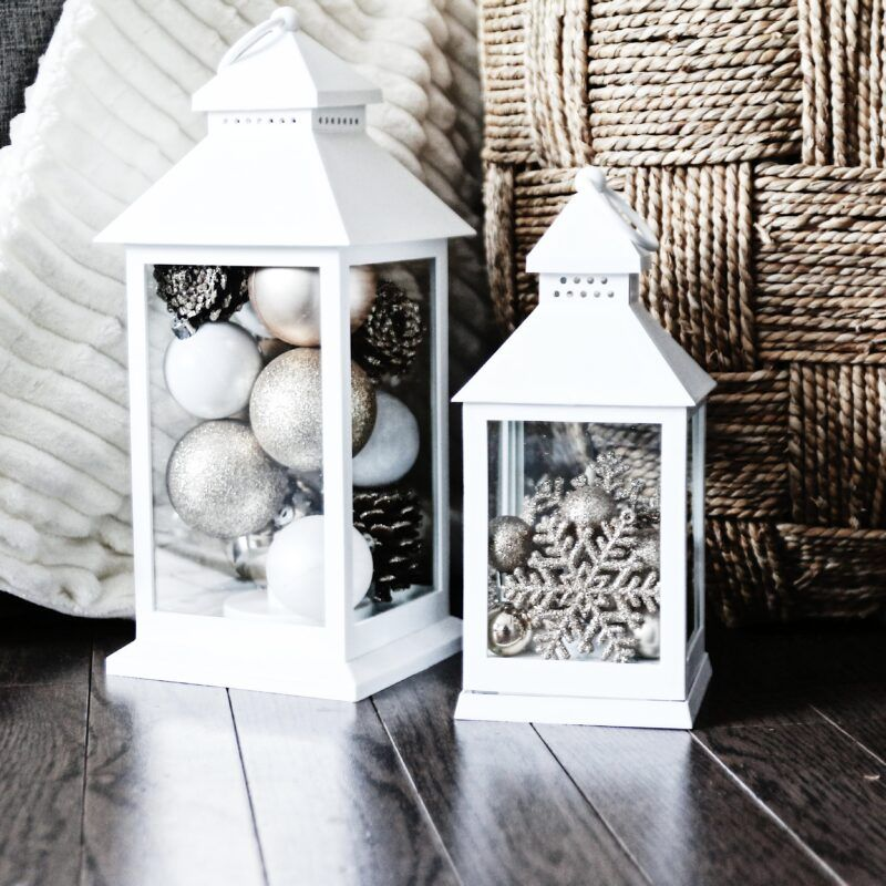 lanterns filled with ornaments DIY