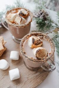 bonfire s'mores cocktail garnished with jumbo marshmallows