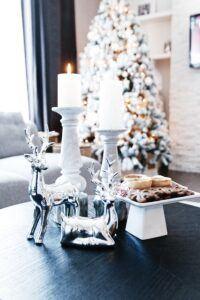 chrome reindeer on coffee table with decor