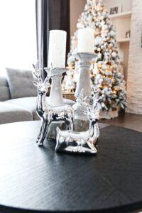 chrome reindeer on coffee table