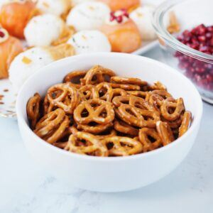 pretzels in a Kitchen Stuff Plus cereal bowl
