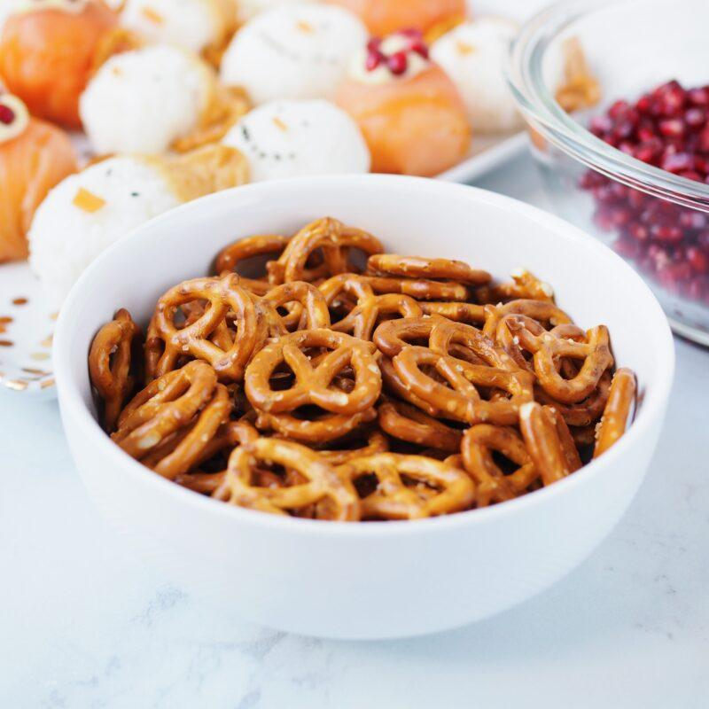 pretzels in a Kitchen Stuff Plus cereal bowl