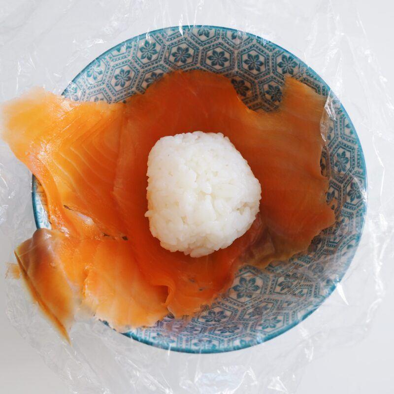 ball of rice on salmon