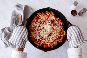 pasta in lodge cast iron pan