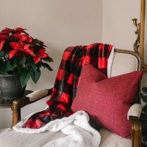 kitchen stuff plus buffalo plaid sherpa throw draped over chair